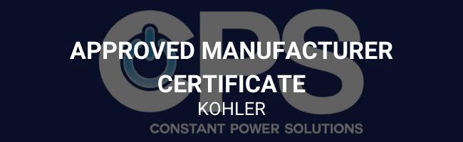 Approved manufacturer certificate - Kohler